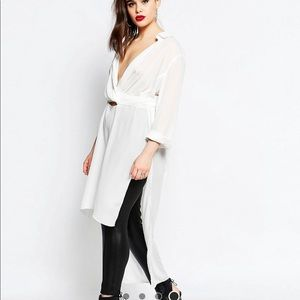 Missguided Plus Tie Waist LongLine White Shirt